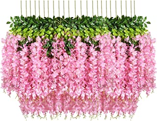 Pauwer 24 Pack 3.6 Feet/Piece Artificial Wisteria Vine Ratta Wisteria Hanging Garland Silk Long Hanging Bush Flowers Strin...