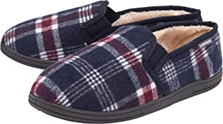 Dunlop - Mens Memory Foam Plush Fleece Lined Moccasin Slippers with Elastic Dual Side Panels - Plain Plaid Check Pattern -...