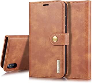 SHUANGRUIYUAN Fashion Retro Luxury Split Type Detachable Design Magnetic Flip PU Leather Case Cover with Stand & Card Slot for iPhone Xs Max 6.5 inch (Color : Brown)