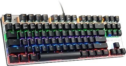 HiveNets 87 Keys Gaming Keyboard US Layout Blue Switches Anti Ghosting Mechanical Keyboard with LED Flashing Backlit (Black)