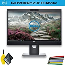 Dell P2418HZM Video Conferencing 16:9 IPS Monitor, 1920x1080P, 1000:1, 6ms (GTG) (P2418HZM) with Wire Straps, Dust Blower, and Microfiber Cloth (1 - Pack)