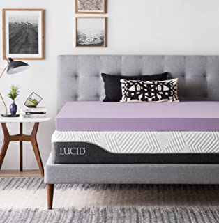 LUCID Ventilated Design 4 Inch Lavender Infused Memory Foam Mattress Topper, Twin