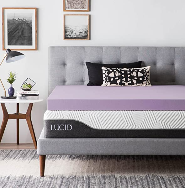 LUCID Ventilated Design 4 Inch Lavender Infused Memory Foam Mattress Topper Queen