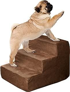 高密度海绵宠物楼梯3STEPS with machine 可水洗拉链 removeable 微纤维盖带防滑底来自 petmaker 棕色