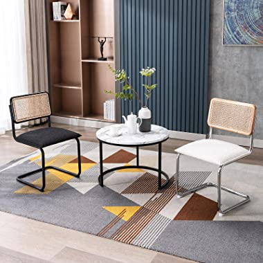 Zesthouse Mid-Century Modern Dining Chairs, Accent Rattan Kitchen Chairs, Armless Mesh Back Cane Chairs, Upholstered Fabric C
