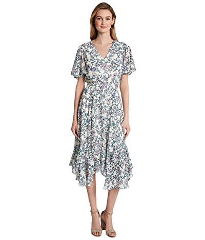 Tahari by ASL Smocked Tea Length Dress (Ivory/Pink Lilac) Women