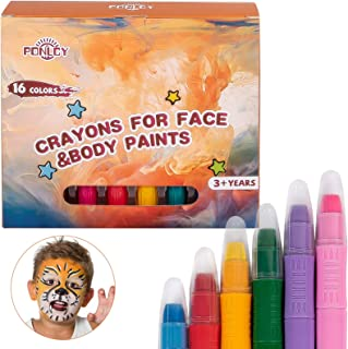 PONLCY Face Paint Crayons Kit, 16 Colors Washable Face & Body Paint Sticks for Children Birthday Party Cosplay Makeup with...