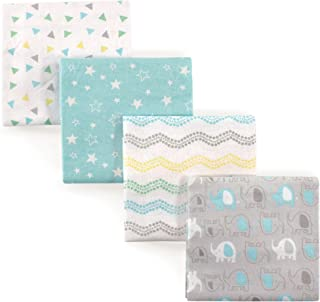 Luvable Friends Unisex Baby Cotton Flannel Receiving Blankets, Basic Elephant 4-Pack, One Size