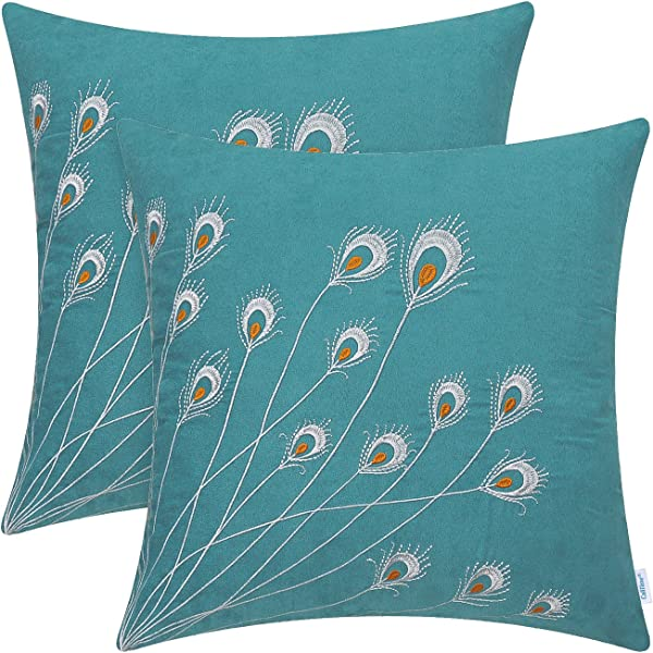 CaliTime Pack Of 2 Supersoft Throw Pillow Covers Cases For Couch Bed Sofa Decor Peacock Feathers Embroidered 18 X 18 Inches Teal
