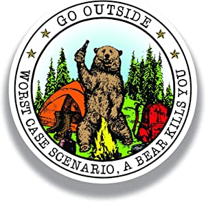Go Outside Worst Case Scenario A Bear Kills You Vinyl Decal Sticker - Car Truck Van SUV Window Wall Cup Laptop - One 5 Inch Decal