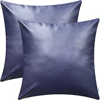 CaliTime Throw Pillow Cases Pack of 2 Modern Solid Dyed Soft Faux Leather Decorative Cushion Covers Shells for Couch Sofa Bedroom 18 X 18 Inches Navy Blue