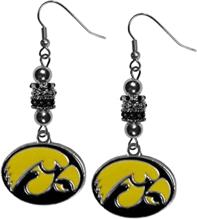 Siskiyou NCAA Iowa Hawkeyes Euro Bead Earrings, Black