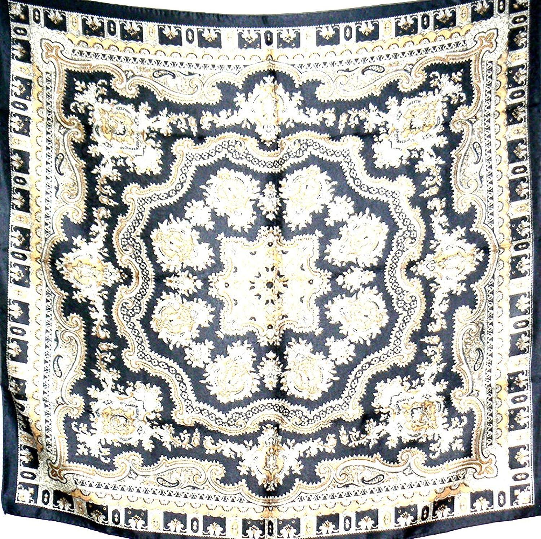 Silk Salon Brand New 100% Jacqard Charmeuse Silk Scarf Shawl Wrap Black A273