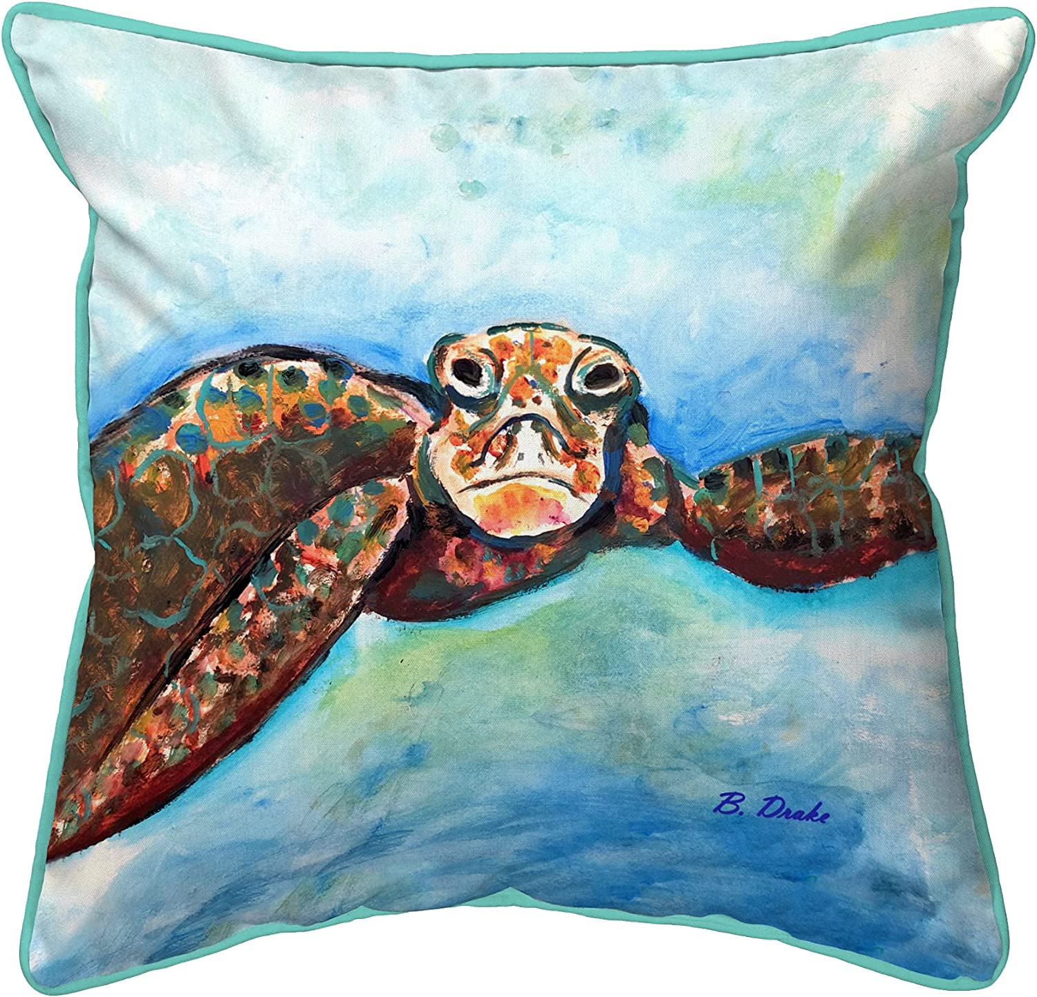 Betsy Drake Turtle Looking at Me Max 65% OFF Large Outdoor Pillow 18x Max 52% OFF Indoor
