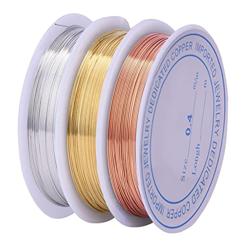 3 Pieces 0.4 mm Tarnish Resistant Bare Copper Wire Jewelry Beading Wire Roll for Crafts Beading Jewelry Making