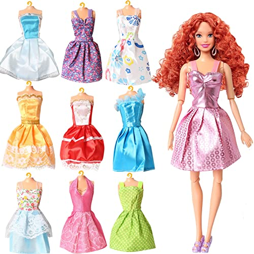 7280a296 Rainbow Handmade Dresses for Barbie Doll, Pack of 9