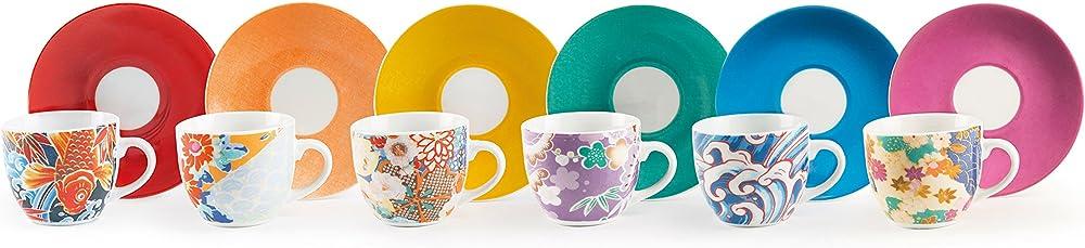 Excelsa kimono , set da 6 tazzine da caffè con piattino, in  porcellana  multicolore 62718