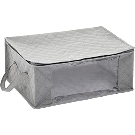 Amazon Basics Lot de 3 housses de rangement pliables avec grande fenêtre transparente et poignées de transport, cubes zippés