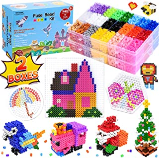 SEEKONE Fuse Beads Kit, 24 Colors 10400 Pcs DIY Art Craft Iron Perler Beads Set for Kids with Pegboards, Pattern Cards, Tw...