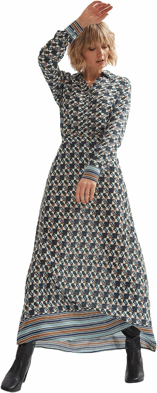Shuuk Fashionable Maxi A-Line Shape Viscose Skirt with Geometric Print for Women