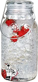 Estilo 1 Gallon Glass Mason Jar Drink Beverage Dispenser with Leak Free Spigot and Bail and Trigger Clamp Locking Lid, Clear