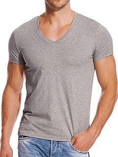 Deep V-Neck T Shirts Men Short Sleeve Slim Fit Low Cut Undershirts Tees