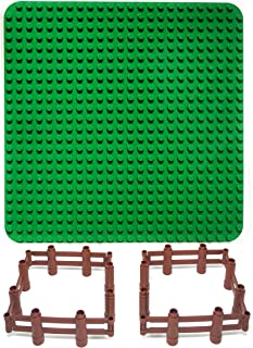 Aliris Large Green Baseplate and 8 Fences for Large Bricks - 24 x 24 Holes Compatible with Duplo