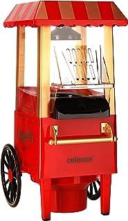 Celexon CinePop CP500 popcornmaskin – 24 x 19 x 39,5 cm – vikt: 1,7 kg – röd/retro/körsbärsdesign– utan olja/fettsnål – po...