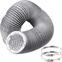 6 inch Air Duct by 12 Feet, Abuff Flexible 4-Layers Aluminum Hose Duct with 2 Screw Clamps Great as HVAC Duct, Clothes Dryer Duct, Air Duct and Dryer Vent Tube