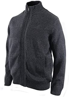 Men's Cable Knit Sherpa-Lined Full Zip Sweater