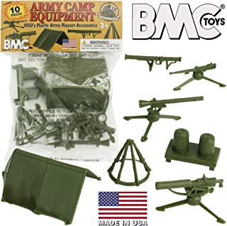 BMC Classic PLASTIC ARMY MEN Playset Accessories - 10pc Military Camp - US Made