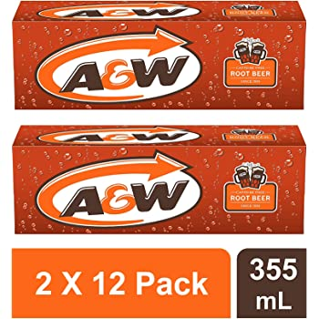 A&W Root Beer 355ml Cans ( 2 X 12 Pack) - Total 24 Cans