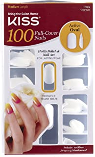 Kiss Products 100 Full Cover Nails, Active Oval, 100 Count