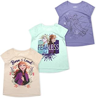 Disney 3-Pack Frozen II T Shirts for Girls and Toddlers with Princess Elsa and Anna