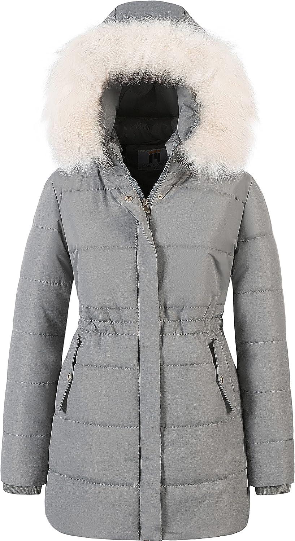 Chrisuno Women's Winter Warm Coats Puffer Jacket Long Drawstring Waterproof Snow Parka With Removable Faux Fur Trim Hood