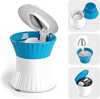 Pill Crusher Cutter Splitter Grinder - [3 in 1] - Pill Crusher Pulverizer - Tablet Cutter with Small Pill Box Container - Pill Breaker Slicer Chopper Divider - Multifunction