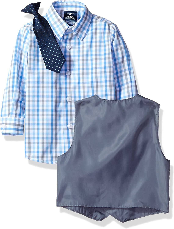 Nautica Baby Boys' 4-Piece Set with Dress Shirt, Vest, Pants, and Tie