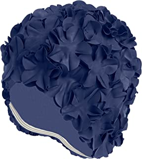 Beemo Latex Swim Cap - Women Stylish Swimming Cap Great for Ladies, Perfect to Keep Hair Dry - Suitable for Long Hair - Many Colors and Sophisticated Styles Available, Also Offered with Chin Strap