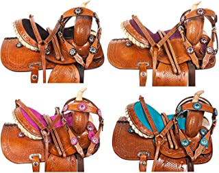 """10"""" 12"""" 13"""" Children Hand Tooled Western Leather Barrel Racing Rodeo Show Crystal Youth Kids Horse Pony Saddle TACK Set Bridle REINS Breastplate"""