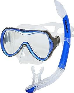 AQUAZON CAPRI Equipo de esnórquel de alta calidad, equipo de buceo, equipo de natación, gafas de esnórquel con cristal templado, para niños, adolescentes de 7 a 14 años.