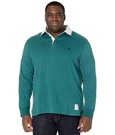 Nautica Big & Tall Big Tall Long Sleeve Polo (Deep Atlantic) Men