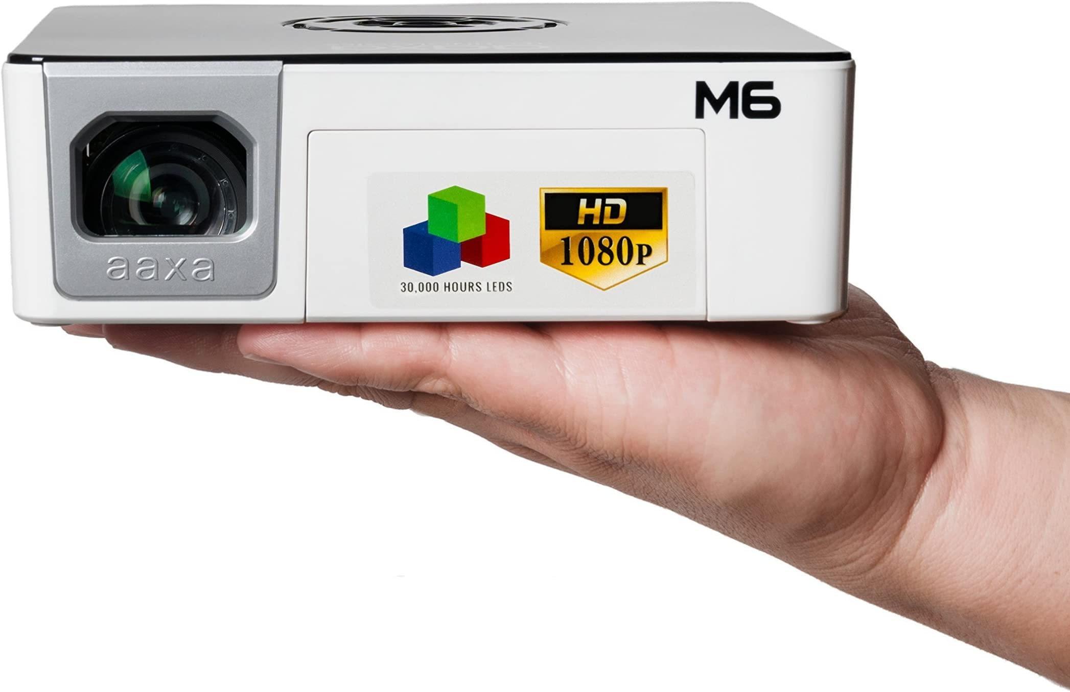 AAXA Technologies M6 Full HD Micro LED Projector with Built-in Battery - Native 1920 x 1080p FHD Resolution, 1200 Lumens, 30,000 Hour LEDs, Onboard Media Player, Business/Home Theater Use
