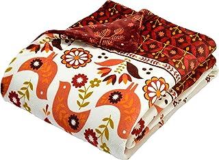 西川(Nishikawa) 毛布 レッド シングル 140×200㎝ あたたか 蓄熱わた 洗える なめらか かわいい 北欧コトリ柄 2CR4502