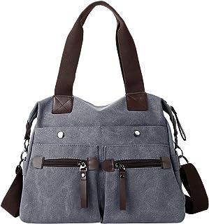 Eshow Damen Umhängetasche Handtasche Schultertasche Canvas Segeltuch mit Handgriff Anti diebstahl Fächern Anthrazit zu Einkaufen spazieren
