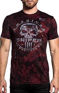Affliction CK Cover Fire Chris Kyle Short Sleeve Kryptek Graphic Fashion T-shirt For Men