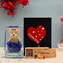 TIED RIBBONS Valentine Gift for Girlfriend Girls Wife - Love Gift Pack (Scented Rose Flowers, Teddy with Message, Message Gift Bottle with Box and Greeting Card)
