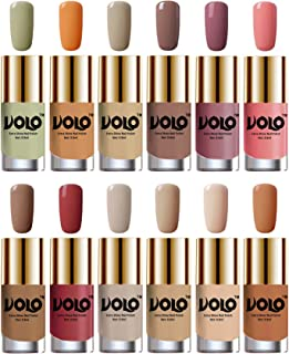 Volo Luxury Super Shine Nail Polish Set of 12 Vibrant Shades (Mischievous Mint, Flirty Nude, Nude, Dark Nude, Nudes Spring, Candy Cotton, Dark Nude, Tan, Nude Tude)