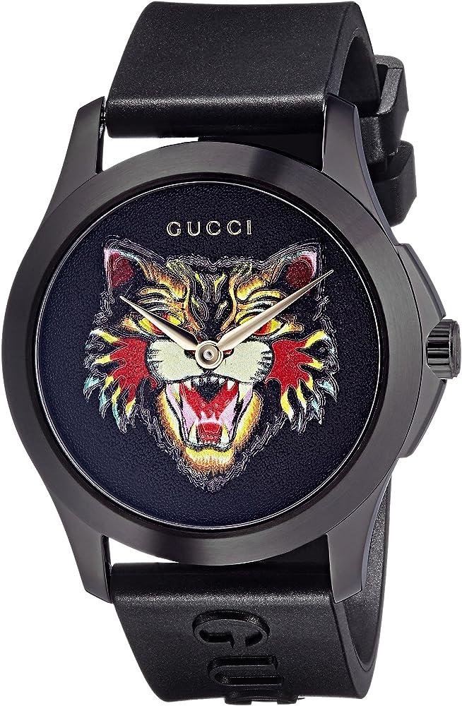 Gucci timeless, orologio unisex, cassa in acciaio inossidabile, quadrante nero con tigre multicolore YA1264021
