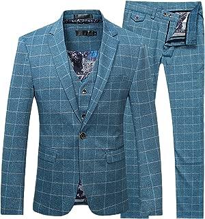 Mens 3-Piece Plaid Suit Set Modern Fit Jacket Tux Blazer Vest Pants
