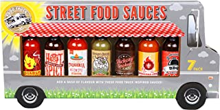 Thoughtfully Gifts, Street Food Sauces Hot Sauce and BBQ Gift Set, Flavors Include: Diablo Wings Sauce, Mexican Style, Lou...